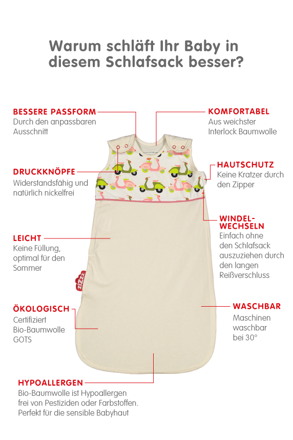 Scooters Sommerschlafsack 0-6 Monate 70cm