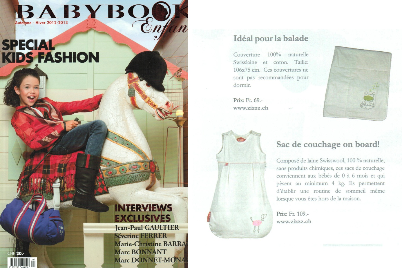"Photo de la couverture et de l'article sur Zizzz du magazine suisse ""Babybook"""